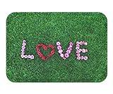 Doormat Love On GrasCotton Linen x 23.6 W X 15.7 W Inches