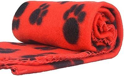 Anself Manta Forro Polar para Perro Paw Print Perro Gato Pet Mascota Manta Fleece Blanket Cama Soft Mat Cubierta