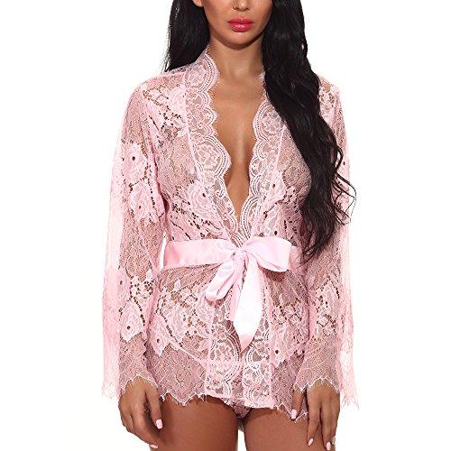 OverDose Boutique Damen Erotik Dessous Sets Nachtwäsche Babydoll Lingerie Unterwäsche Langarm V-Ausschnitt Spitzenbody Transparente Kurz Reizvolle Reizwäsche Kimono Unterkleid Nachtkleid mit G-String