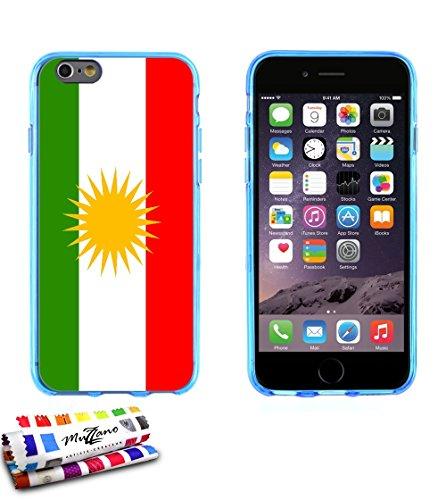 Ultraflache weiche Schutzhülle APPLE IPHONE 6 PLUS 5.5 POUCES [Flagge Kurdistan] [Lila] von MUZZANO + STIFT und MICROFASERTUCH MUZZANO® GRATIS - Das ULTIMATIVE, ELEGANTE UND LANGLEBIGE Schutz-Case für Blau