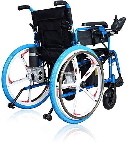 BUDBYU Leichter Faltbarer Elektrorollstuhl Elektrorollstuhl, Faltbarer Elektrorollstuhl, Antrieb mit elektrischer Energie Verwendung als manueller Rollstuhl (blau)