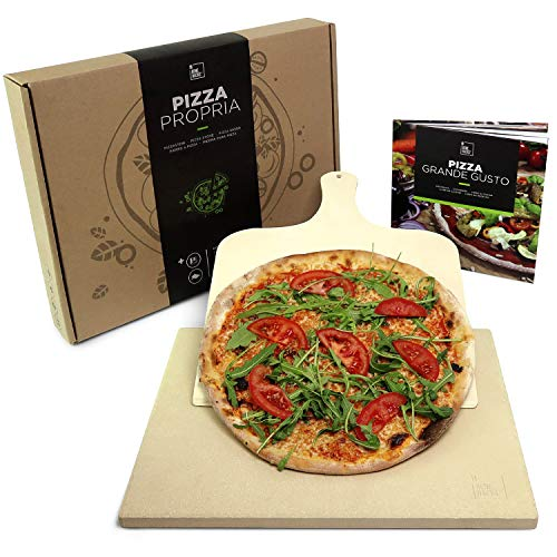 #benehacks Pizza Stone for Oven 1.5 cm - Thermal Shock Resistant - Propria Pizza Baking Stone - Charcoal Grill/BBQ – Bonus Pizza Shovel, Cookbook, and Gift Packaging – Square Tile Fits Most Ovens