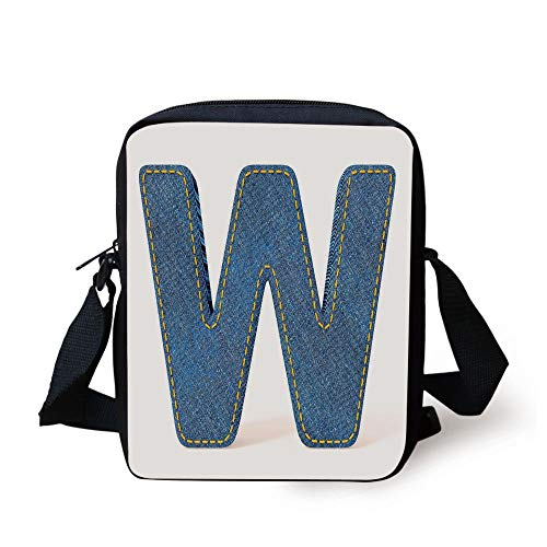 ZKHTO Letter W,Symmetrical Latin Letter Capital W with Blue Jean Pattern Typography Design Print,Blue Yellow Print Kids Crossbody Messenger Bag Purse - Back Flap Jeans