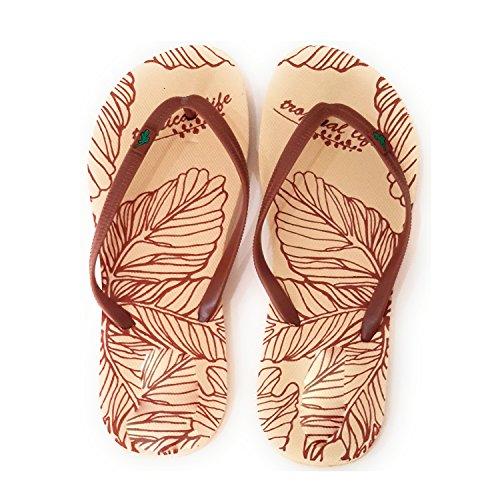 Flip Flops Damen Dusch Badeschuhe und Sommer Strandschuhe, Angenehm zu Tragen. Verschiedene Modelle und Farben Sohle Blätter Vanille, Band Braun