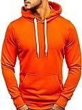 BOLF Herren Kapuzenpullover Hoodie Sweatshirt Basic Sport Style 1004 Orange L [1A1]