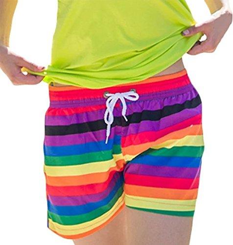 Fancyland Pantalon de Plage Imprimé Fleurs Short Piscine Désinvolt et Sportif Maillot De Bain Grande Taille Eté Pour Femme Arc-En-Ciel