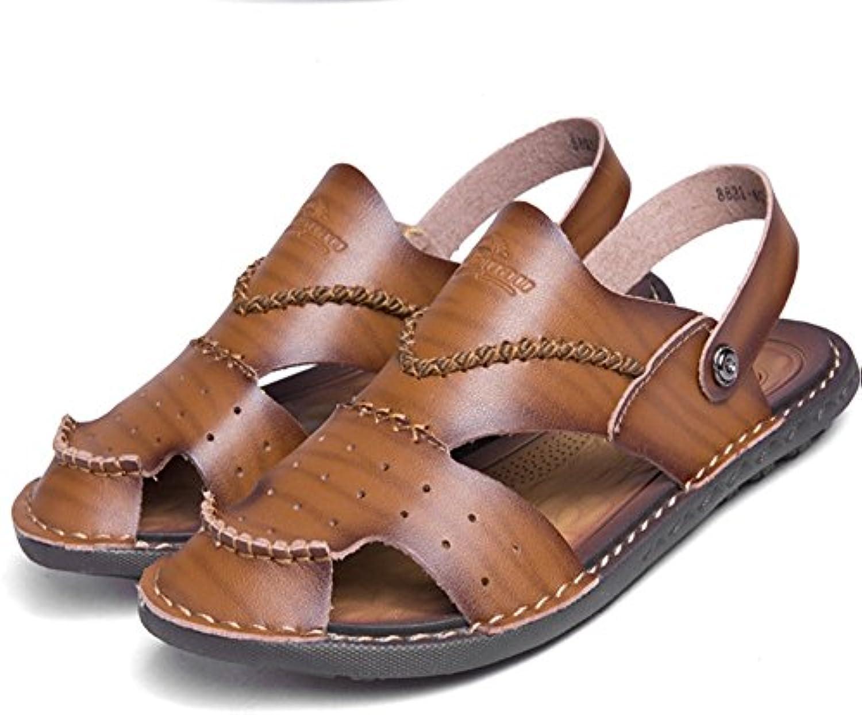 Wagsiyi Hausschuhe Sandalen Herren Sommer Outdoor Sports Leder Rutschfeste Dual Freizeit Atmungsaktive Sandalen