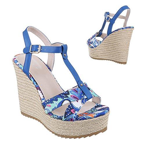 Damen Schuhe, ZH696, SANDALETTEN HIGH HEELS PUMPS Blau