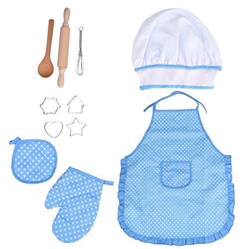 Kostüm Kuchen - Vithconl 3Jahre Kid Spielzeug Kinder Die Gesetzte Küchen Kostüm Rollenspiel Ausrüstungs Schutzblech Hut Kochen Und Backen Toy Toys (Blue)