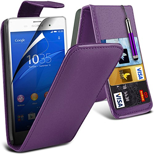 (Rose) Sony Xperia Z3+ Haute Qualité Durable dur Shock Survivor dur Rugged Proof étui cas Heavy Duty avec stand Retour Skin étui cas Cover & Screen Protector Par i-Tronixs Leather Flip + Stylus ( Purple )