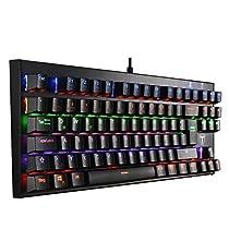 VicTsing 87 Keys Mechanical N Key Rollover Gaming Keyboard (Cable Length: 1.8 m, QWERTZ German Layout, 6 Colors LED Backlit 8 Gaming Multimedia Keys Blue Switch), Schreibkräfte etc. Black  Von victsing