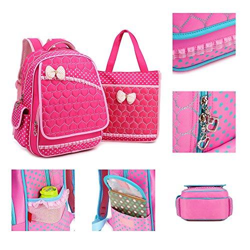 KINDOYO Jungen Mädchen Wasserdichte Rucksack für Kinder Unisex Schulrucksäcke Rucksack für Reisen, Wandern Rose-C