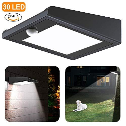 Avaspot Solarleuchten für Außen, 2 Pack mit 30 LED Solar-Bewegungsmelder Licht, Drahtlosen Wasserdichten Solarbetriebenen Sicherheitslicht mit P