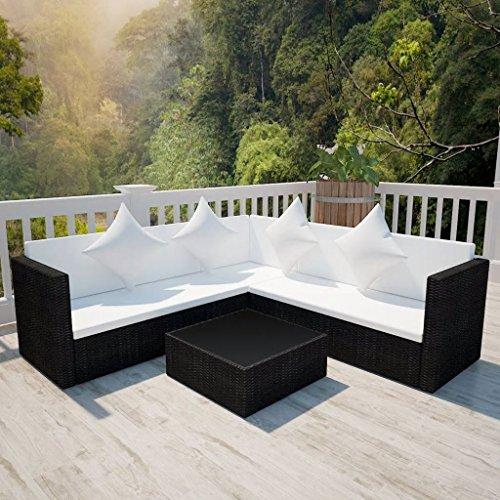 Hobbyesport divano da giardino angolare in polirattan modulare nero
