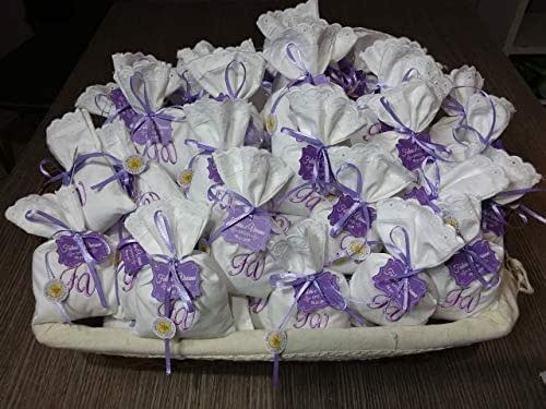 Crociedelizie, Stock 70 sacchetti ricamo iniziali nomi sposi matrimonio bomboniere portaconfetti