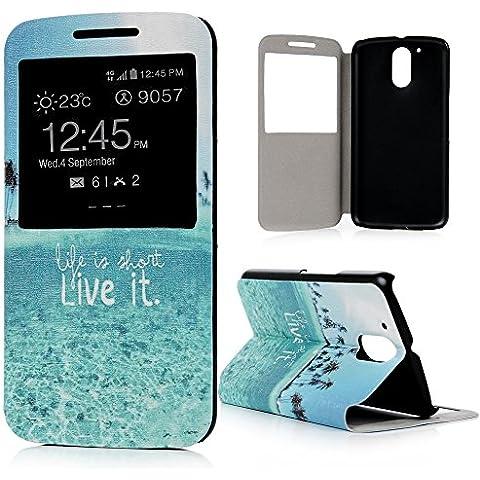 Motorola Moto G4 / G4 Plus Funda Libro de PU Leather Cuero Ventana S View - Mavis's Diary Funda para móvil Carcasa Con Flip Case Cover Stand,Función de Soporte-Diseño de isla del