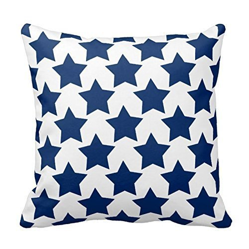 ZKHTO Dark Blue and White Stars Pattern Throw Pillow Cover Decorative Cushion Case Zippered Twin Sides,Cover Size:16 x 16 Inch(40cm x (Dark Fairy Halloween Ideen)