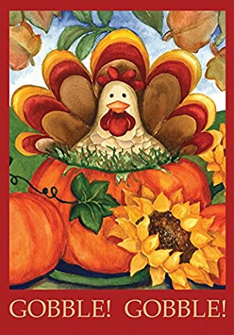 Toland - Autumn Turkey - Decorative Thanksgiving Fall Holiday Pumpkin USA-Produced Garden Flag