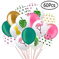 Kulannder 60 Pack Hawaii Tropical Party Balloons, 12 Inches Flamingo Pineapple Tropical Leaf Round Dots Latex Party Balloons with Dots for Hawaii Luau Party Decorations Birthday Wedding Decorations.