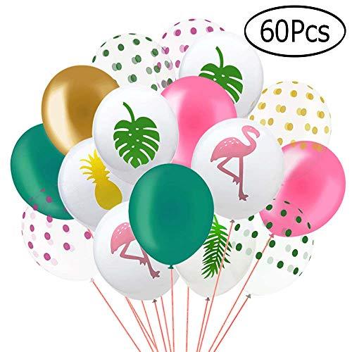 Kulannder 60 Pack Hawaii Tropical Party Ballons, 12 Zoll Flamingo Ananas Tropical Leaf Runde Punkte Latex Party Ballons mit Punkten für Hawaii Luau Party Dekorationen Geburtstag Hochzeitsdekorationen