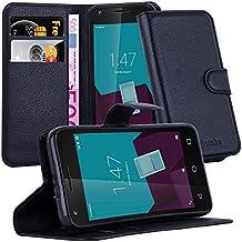 Cadorabo - Funda Vodafone SPEED 6 Book Style de Cuero Sintético en Diseño Libro - Etui Case Cover Carcasa Caja Protección (con función de suporte y tarjetero) en NEGRO-FANTASMA