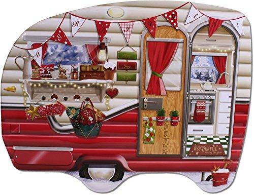 Blechdose Wohnwagen rot 27 cm Keksdose Weihnachten Nikolaus Deko Box Dose Camper Retro
