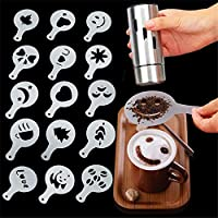 16 Pcs Coffee Decorating Stencils, Foam Latte Art Stencils Barista Template for Decorating Oatmeal Cupcake Cake Cappuccino Hot Chocolate