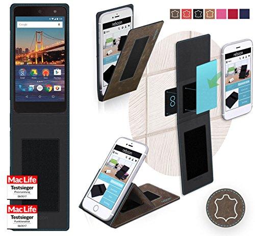 reboon Hülle für General Mobile 4G Tasche Cover Case Bumper | Braun Wildleder | Testsieger