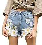 Minetom Mujer Talle Alto Mezclilla Casual Jeans Shorts Mujeres Moda Rasgado Deshilachado Pantalones Cortos Dril Verano Borla Bordado del Girasol Azul Claro ES 46/Cintura 86 cm