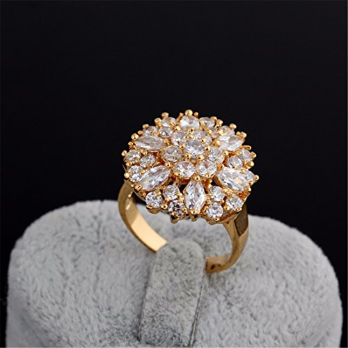 Women White Gold Plated Diamond Ring Crystal Copper Flower Shaped ...