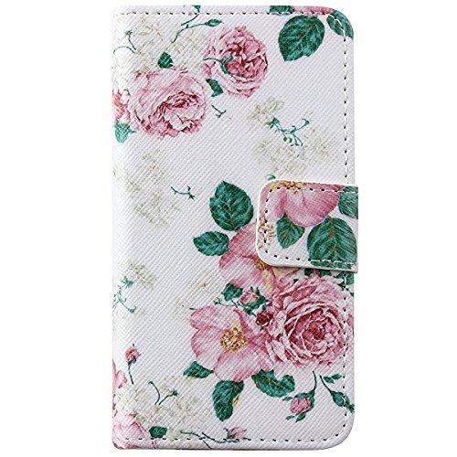 ISAKEN Kompatibel mit iPhone 4S Hülle, iPhone 4S Schutzhülle Muster Druck Flip PU Leder Tasche Case Hülle im Bookstyle mit Standfunktion Kartenfächer Hülle Case für iPhone 4 4S, Rose Blumen