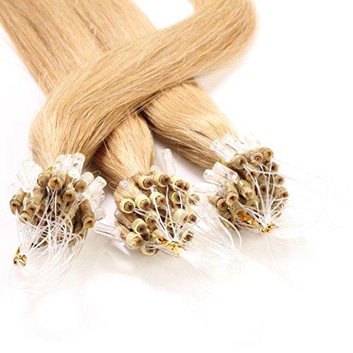 Hair2heart 25 x 0.5g microring loop extension capelli veri - 60cm - liscio, colore #27 biondo dorato