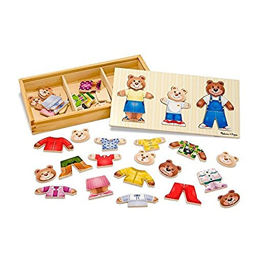 Melissa & Doug 13770 Mix-n-Match Wooden Bear Family Dress-Up Puzzle with Storage Case, 45 Pieces