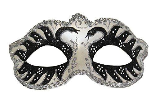 Raivar Classic Style Venezianische Glitzer Masken für Masquerade Ball (One Size) Gr. onesize, Black Glitter Swan (Black Halloween-maske Swan)