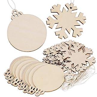 FLOFIA 40pcs Bolas Navidad Madera Copo de Nieve Colgante Navidad Árbol Rebanadas Madera Adorno Decoración del Árbol Ventana Fiesta DIY Regalo Manualidades Cuerdas Incluídas