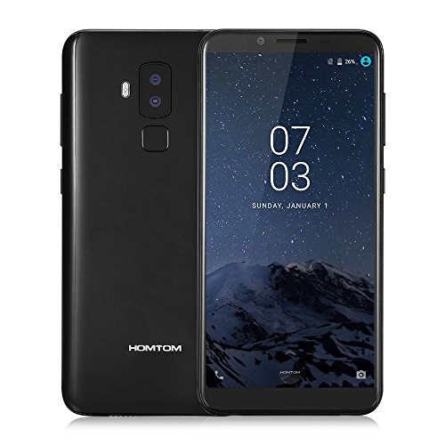 HOMTOM S8 4G Smartphone 5.7 Zoll 18:9 Bildschirm Verhältnis MTK6750T Octa Core 4GB RAM 64GB ROM 16MP + 5MP Doppelte Ruckkamera Intelligente Geste Fingerabdruck fur Android 7.0 (schwarz)
