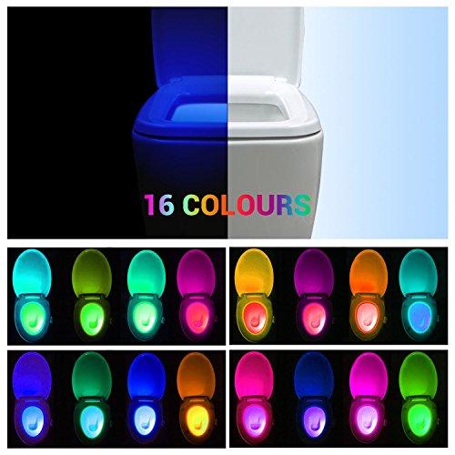 REACHOPE WC Nachtlicht Klobeleuchtung Toilettenbeleuchtung Led mit Bewegungsmelder Toilette Lampe für alle Toilette - 16 Farbewechsel