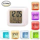 VanseRun Digital Wecker, 7 LED Farbwechsel,mit Temperatur, Alarm und Schlaf Funktion, für Erwachsene, Kinder, Teens