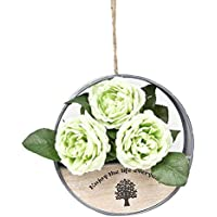 Yunhigh maceta colgante montado en la pared florero decorativo macetero jardinera artificial cesta de metal + arte de la pared de madera decoración del hogar (forma redonda)