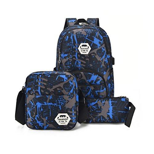 Schultasche Sets Jungs Mädchen - Canvas Schulrucksack + Schultertasche + Mäppchen - Schule Rucksack für Jugendliche