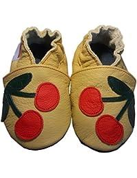 """""""Cherry"""" de BBKDOM- Chaussons bébé et enfant en cuir souple de qualité supérieure Fabrication Européenne de 0-5 ans"""