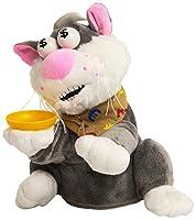 Simpatico peluche-salvadanaio che ride e balla! Inserisci la moneta nel piattino e il tuo animaletto farà una risata di gioia e si metterà a ballare! Funziona con 3 x 1,5 V AA pile alcaline non incluse. Età 3+
