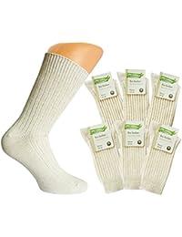 6 Paar Herren Strümpfe Natura Bio Socken mit Bio Baumwolle und Leinen Natur mit Muster