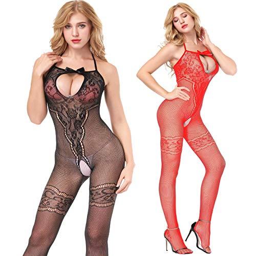 Amoure 2-Pack Damen Unterwäschen Reizwäsche Netz Strumpfhose Bodystockings Hohle Blumen Frauen Bodysuit Nachtwäsche Dessous (Schwarz+Rot)