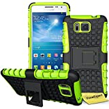 Samsung Galaxy Alpha Funda, FoneExpert® Heavy Duty silicona híbrida con soporte Cáscara de Cubierta Protectora de Doble Capa Funda Caso para Samsung Galaxy Alpha SM-G850 G850F + Protector Pantalla (Green)