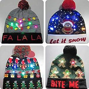 gaeruite Christmas LED Light Strickmütze für Erwachsene Kinder, buntes Licht Stricken warme Mütze für Weihnachtsdekor