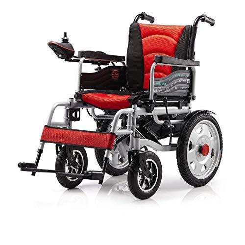 Z-SGLY Elektrorollstuhl, Lite Aluminium-Rollstuhl, Leichter und Faltbarer Rahmen, Rollstuhl für Rollstuhlfahrer, Tragbarer Transit-Reisestuhl, mit Pedalen und Sitzen Standard,Red