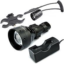 UniqueFire negro linterna UF1504IR luz LED infrarrojos 67mm convexa lente + rifle Scope Mount + 18650de carga + cola interruptor linterna visión nocturna caza, 850NM kitset