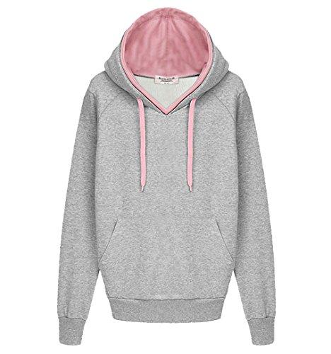 Frauen Kapuzenjacke Herbst Winter Kleidung lose Jacke Kaschmir-Pullover Mantel (EU38-L, (Hoodie Damen Animal)