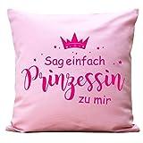 Wandtattoo-Loft Kissen Krone mit Spruch Sag einfach Prinzessin zu Mir Baumwolle / 05 Stoff rosa + Schrift neon pink